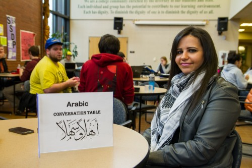 Maha Hassan, an international student from Jordan, at the Arabic conversation table in the Student Life Center in Bldg. 2 on the Salem campus.