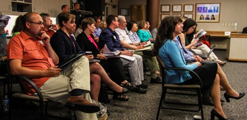 Faculty and staff at Chemeketa's May 28th board of education listening to the announcement of the interim president of Chemeketa, Julie Huckestein currently vice president and chief financial officer.