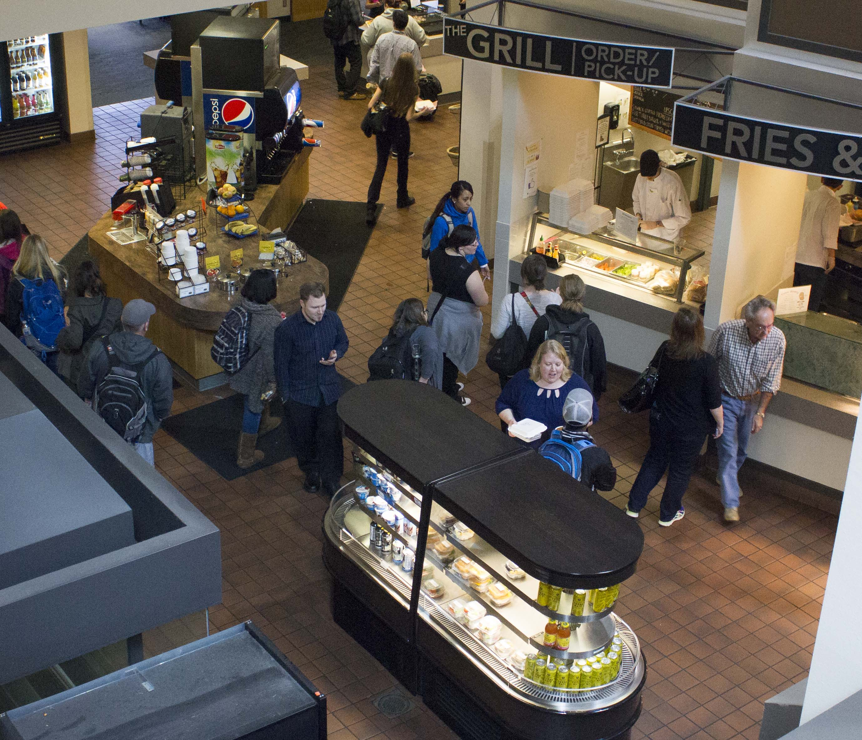 Chemeketa's Food Court, as seen from upstairs in Bldg. 2, serves a changing variety of breakfast and lunch items and is open Monday through Friday