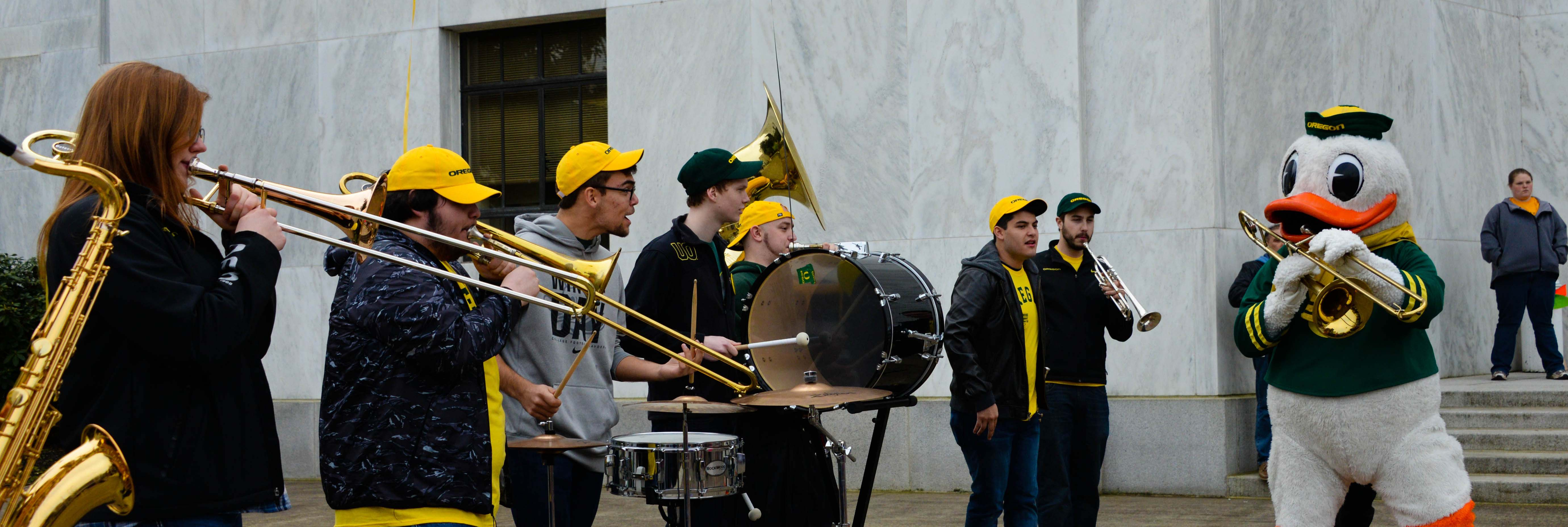 The University of Oregon Band and their mascot play for the nearly 500 students whom ascended on the State Capitol Thursday. For the Student led rally to freeze tuition and maintain state educational funding for the next two years.