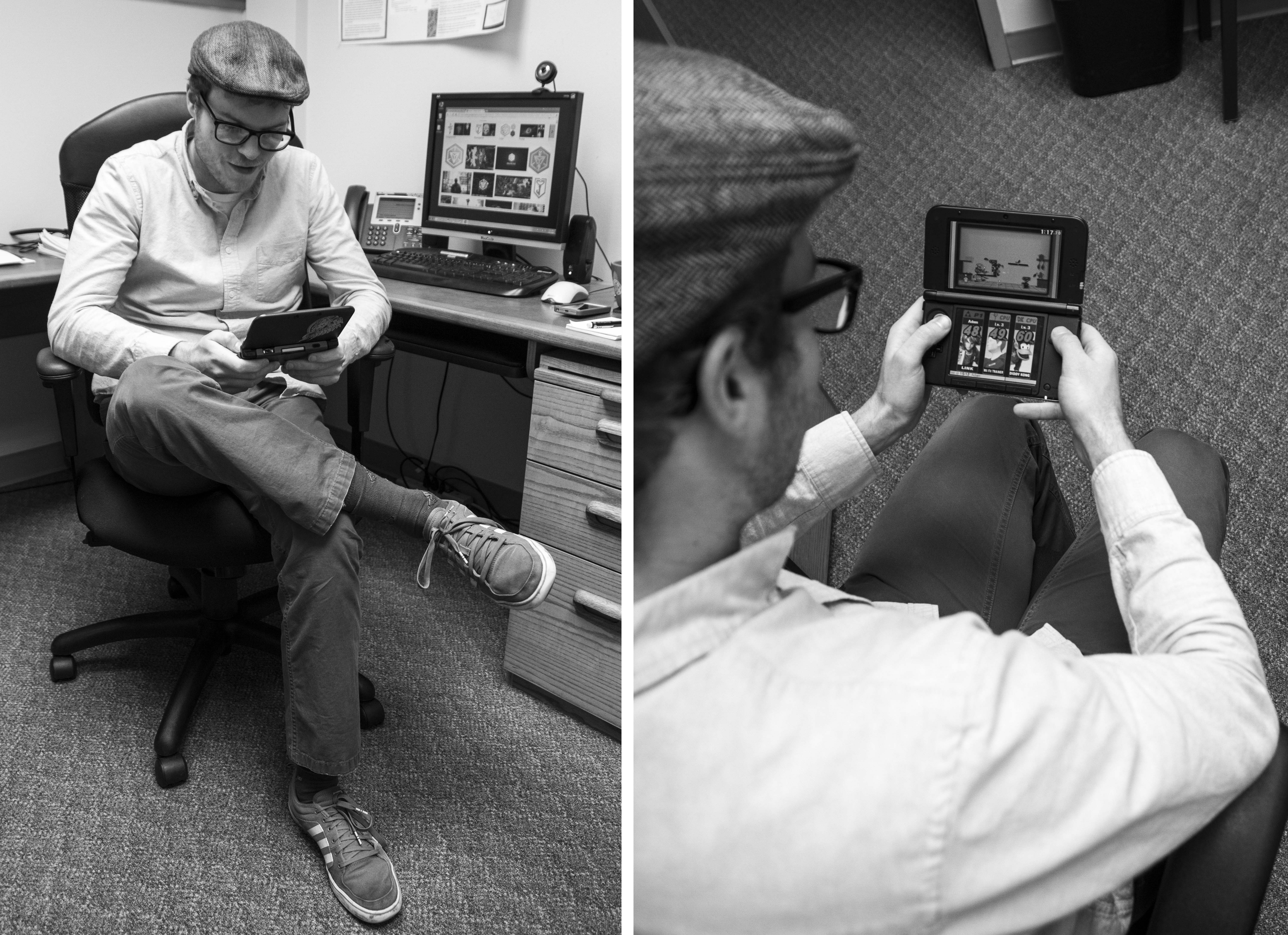 Adam Privitera, a Chemekta psychology instructor, takes a moment to play his Nintendo DS.