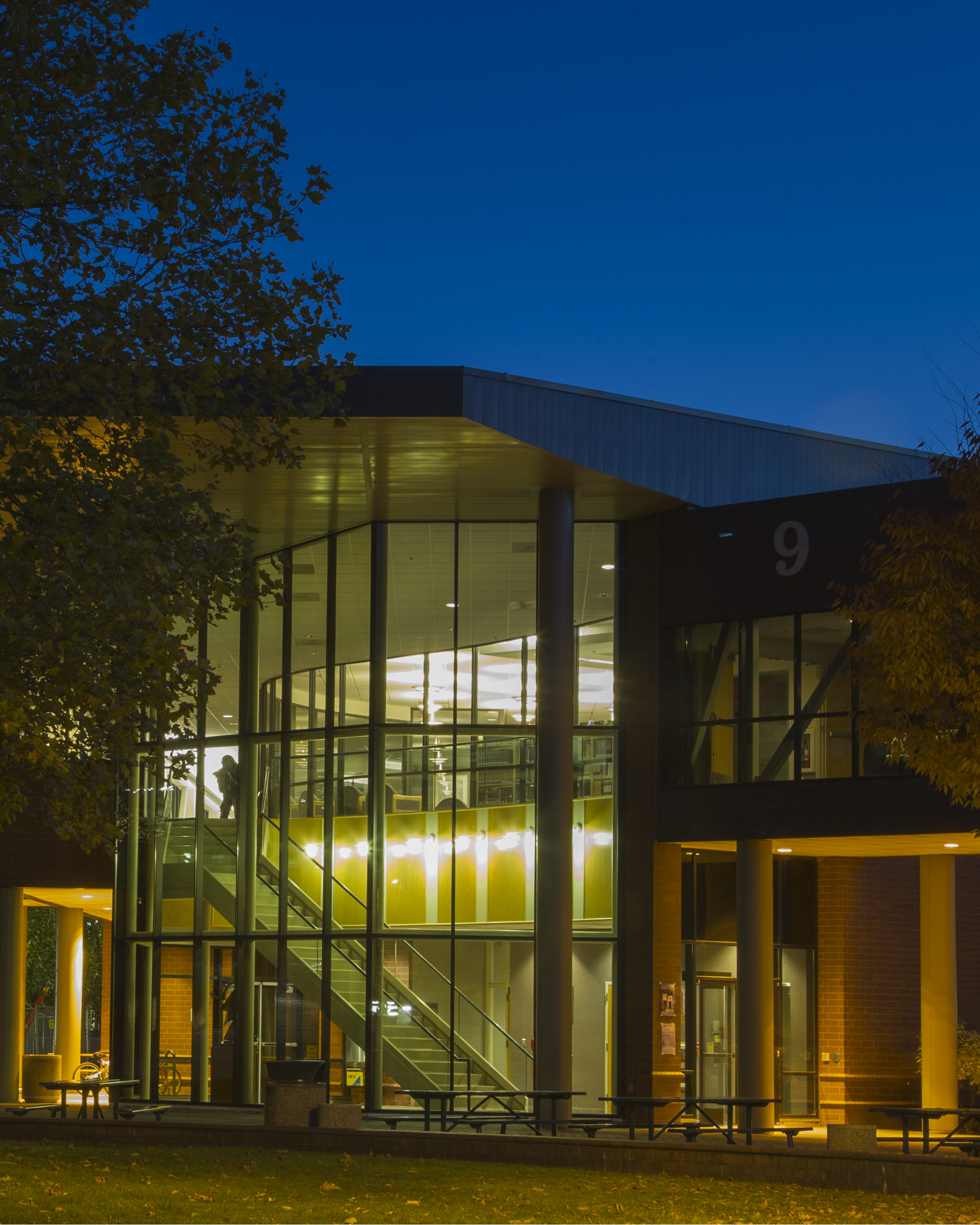 Bldg. 9, lit up at night, is a prime example of Chemeketa maintaining beautiful campus grounds.